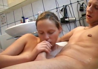 a steady oral-service in filled bathtub